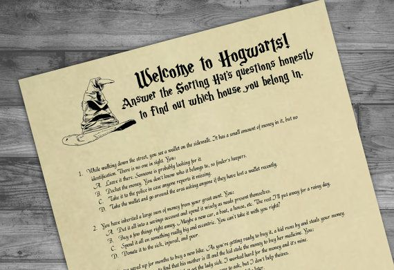 Printable Sorting Hat Quiz Harry Potter Party Game Digital Harry Potter Party Games Sorting Hat Harry Potter Party
