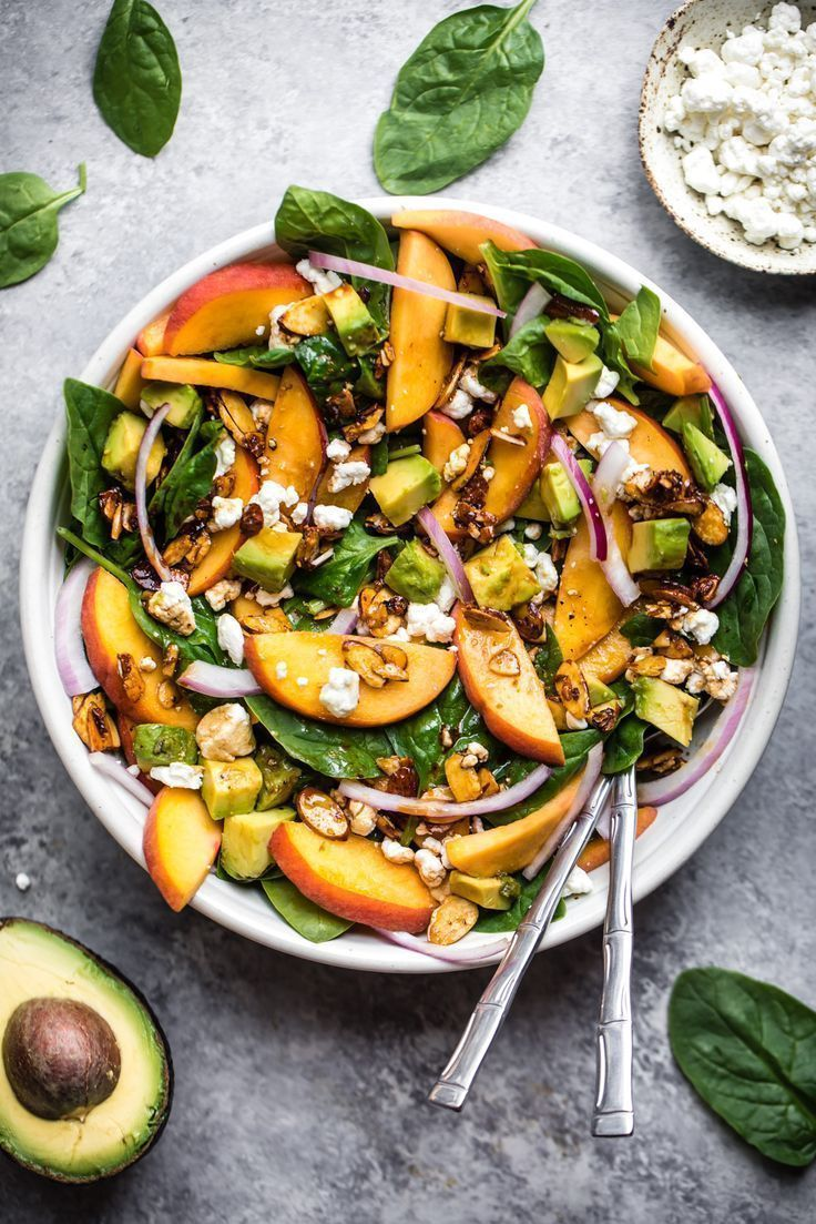 Summer Peach Spinach Salad with Avocado, Toasted Almonds + Goat Cheese #peachideas