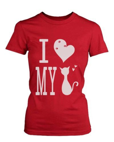 Graphic-Statement-Womens-Red-T-Shirt-I-Love-My-Cat