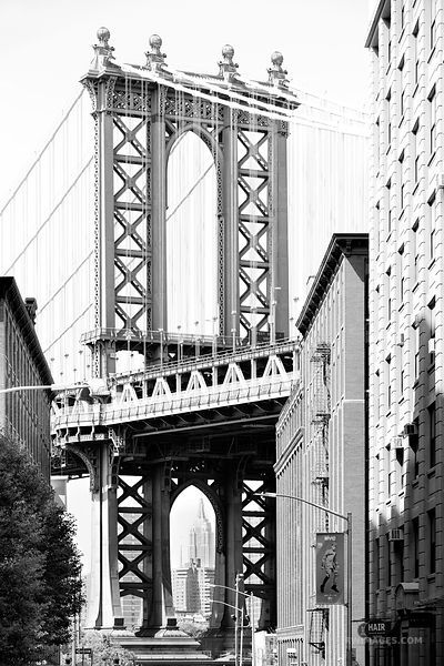 NEWYORK BROOKLYN BRIDGE IN B/&W PICTURE PRINT ON WOOD FRAMED CANVAS WALL ART