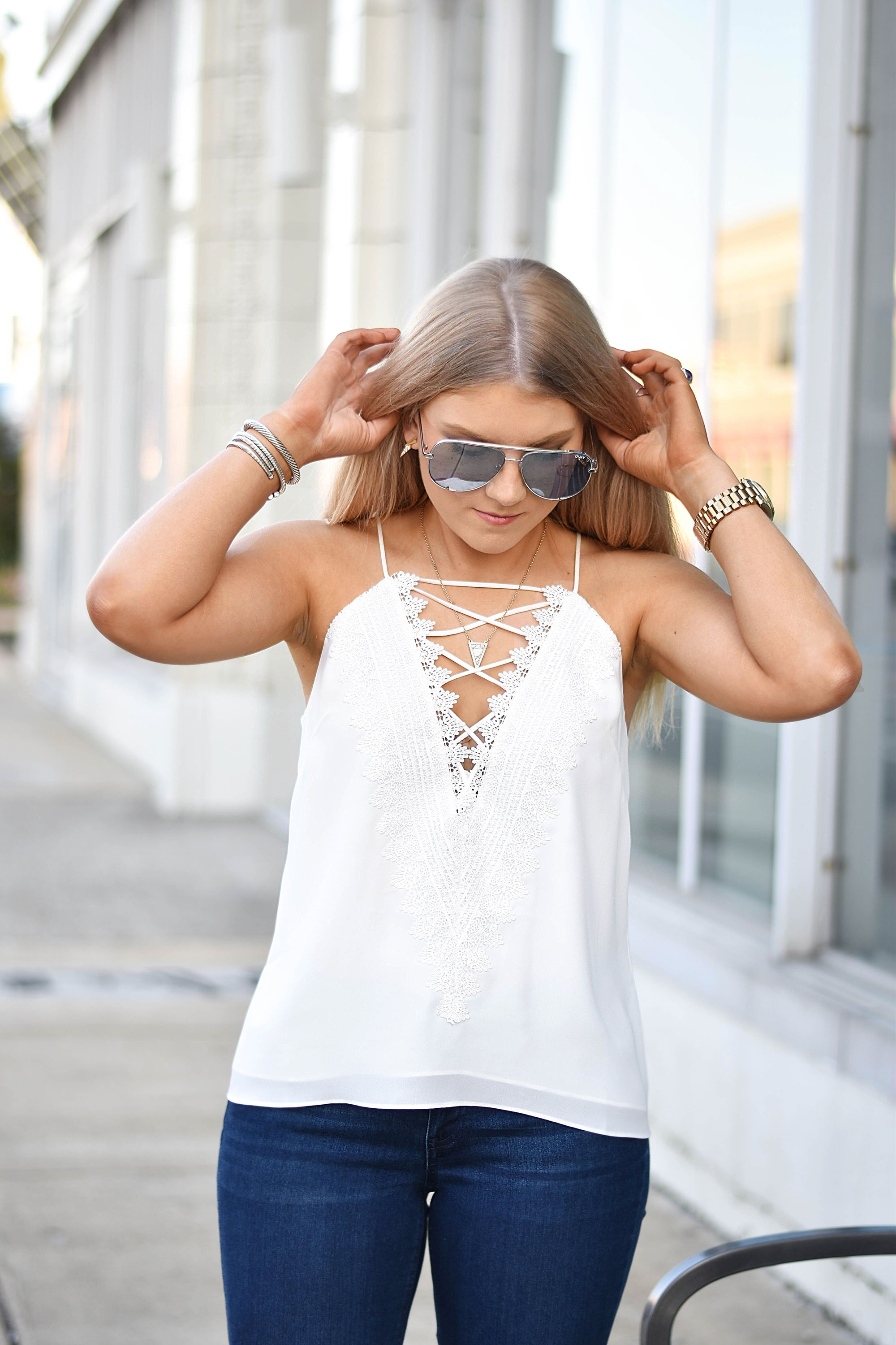58d6adafab8 WHITE LACE CAMI | Summer Style | White lace cami, Camisole outfit ...