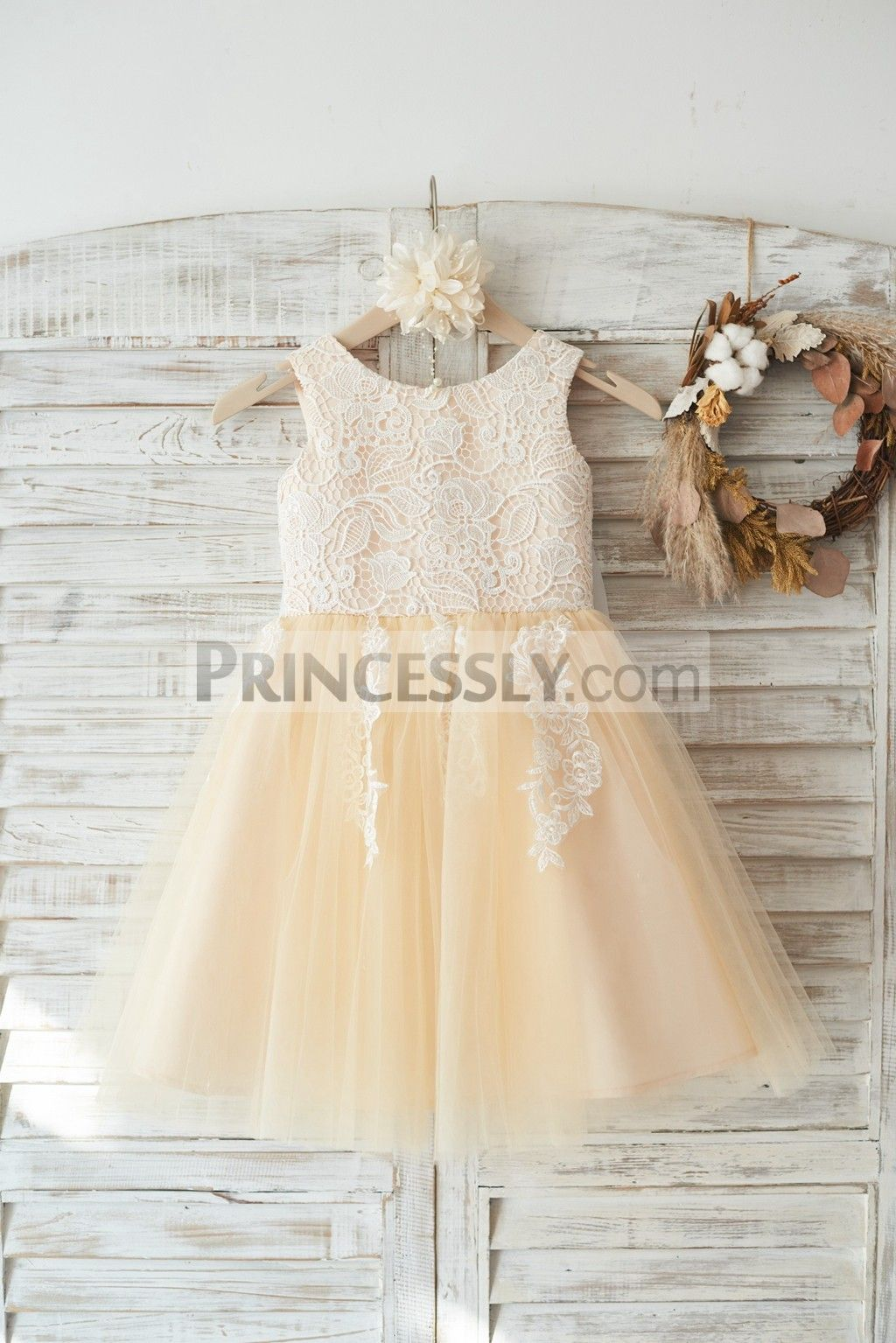 Best wedding dresses for big busts  Ivory Lace Champagne Tulle Wedding Flower Girl Dress with Big Bow