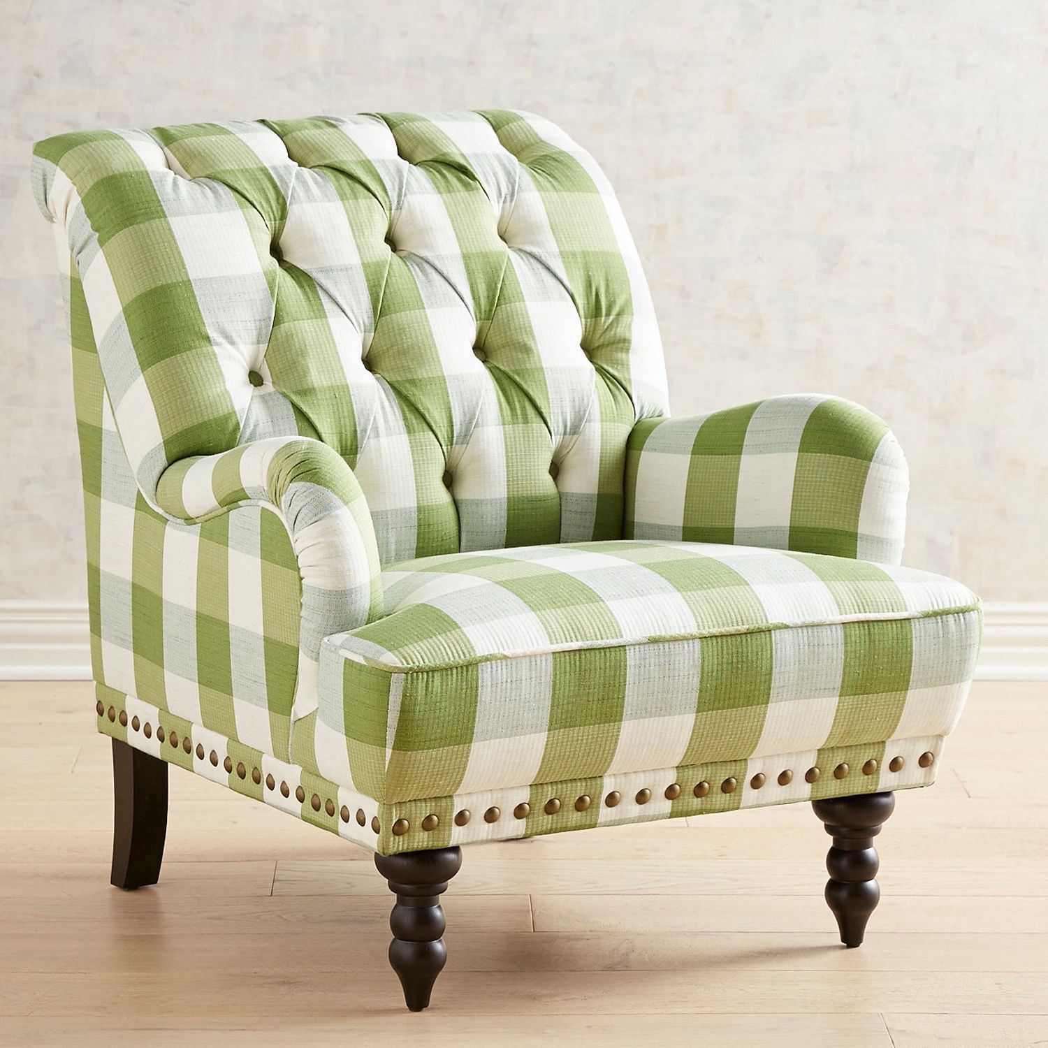 Green Upholstered Chair Green Buffalo Check Upholstered Chair