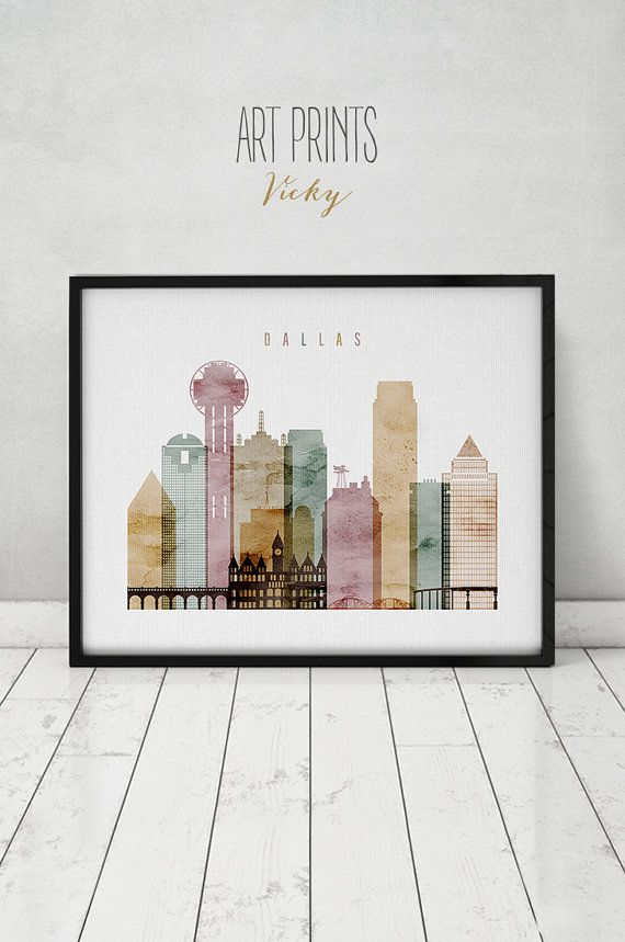 dallas watercolor art print, poster, wall art, dallas skyline