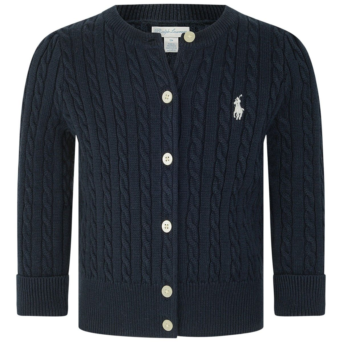 Ralph Lauren adorable baby girls cardigan in a navy hue features a cable knit design, ribbed neckline, cuffs and hemline and embossed buttons and RL Pony logo in white to the front. Navy hue Cable Knit design Ribbed neck |cuffs| hemline RL Pony Logo to the front 100% Cotton Machine wash at 30°