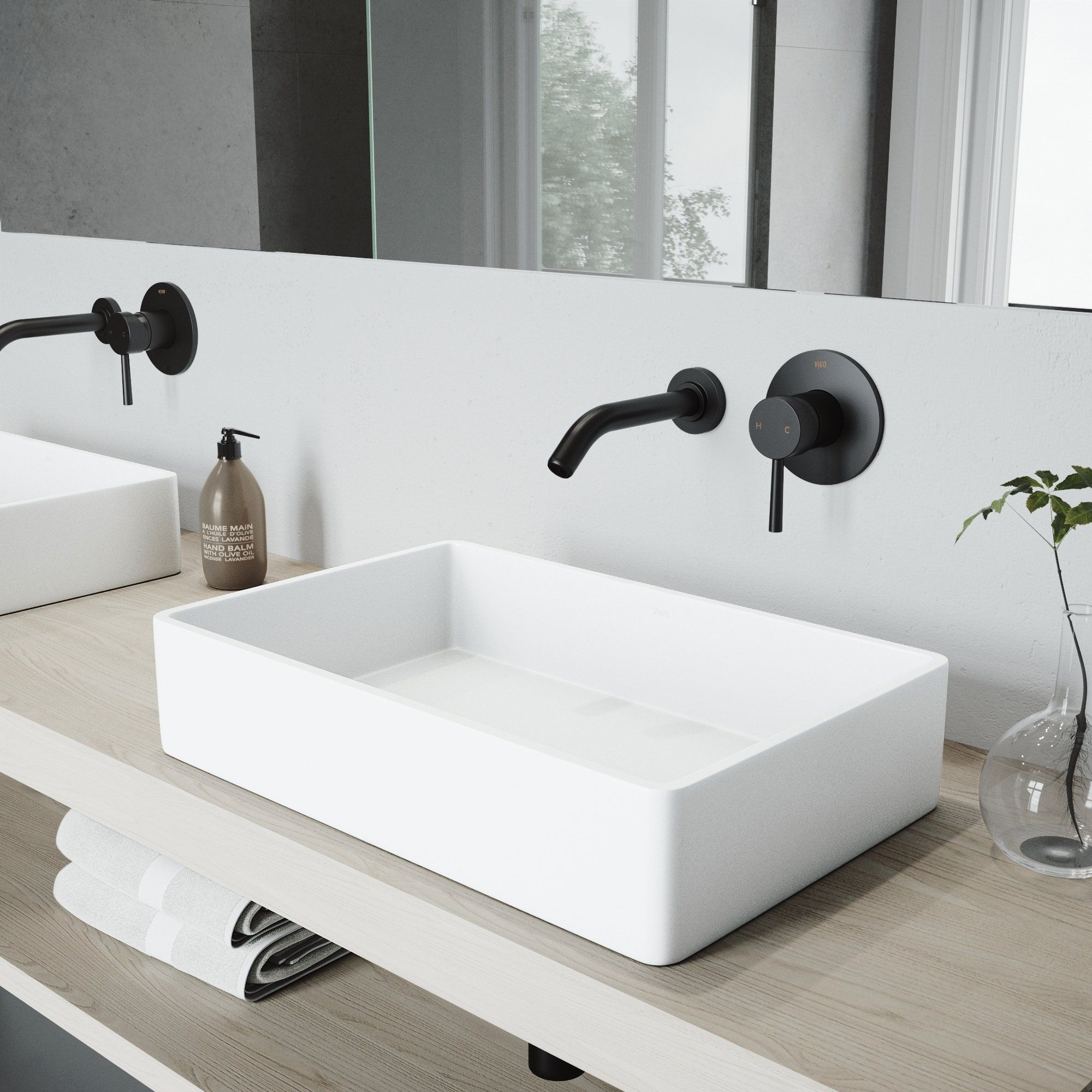 Vigo Magnolia Matte Stone Bathroom Sink Set And Olus Wall Mount