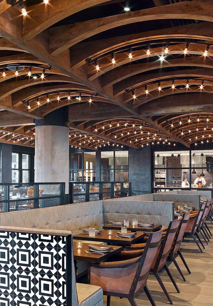 Restaurant lighting ceiling detail ninja eat for Restaurant interior design