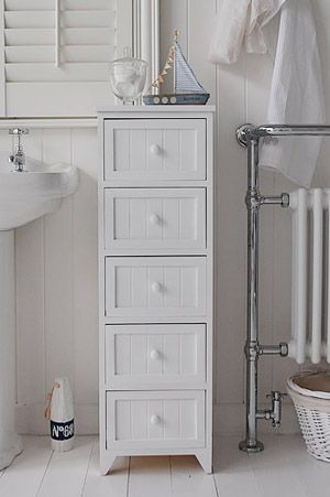 A Crisp White Freestanding Cottage Bathroom Storage Furniture Narrow Cabinet With 3 Drawers Each Wooden And Tongue Grrove