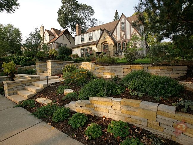 Ordinary Front Yard Slope Landscaping Ideas Part - 14: How To Landscape Front Yard Slope | Front Yard Natural Stone Terracing  Walls By Ground One Of Mn | For The Home | Pinterest | Sloped Front Yard,  ...