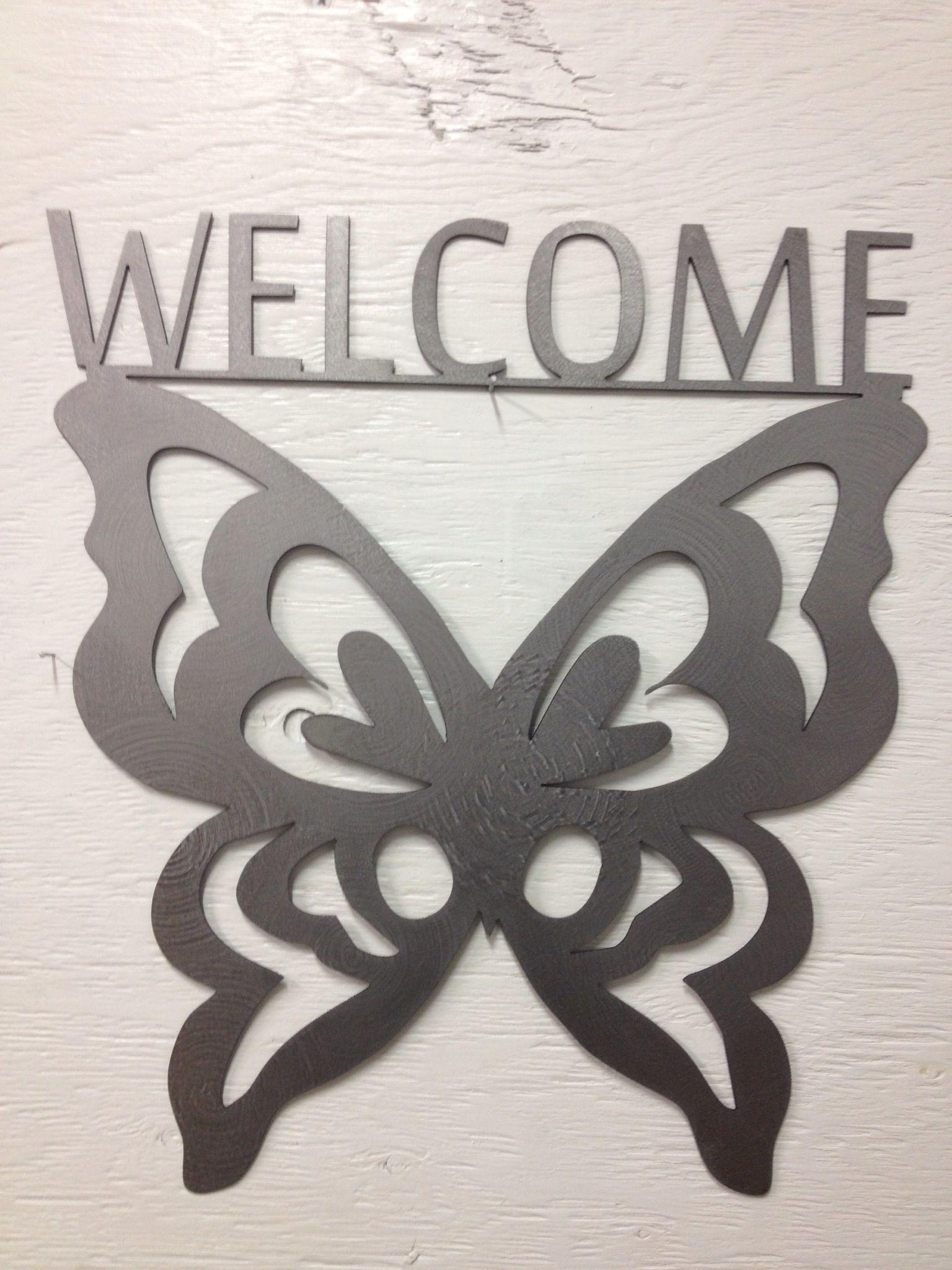 Erfly Welcome Metal Sign Garden Art Yard