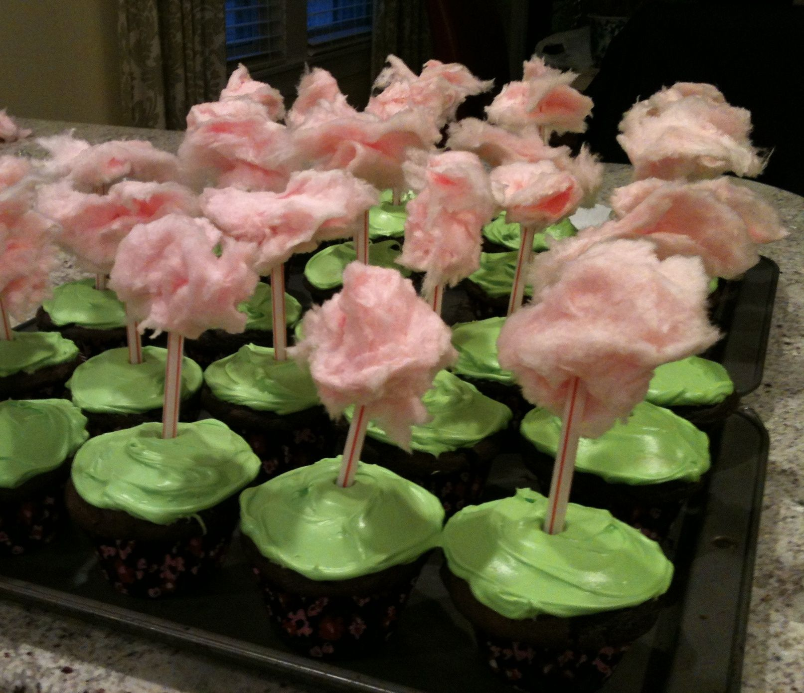 A grove of truffula trees. Chocolate cupcakes, neon green (food ...