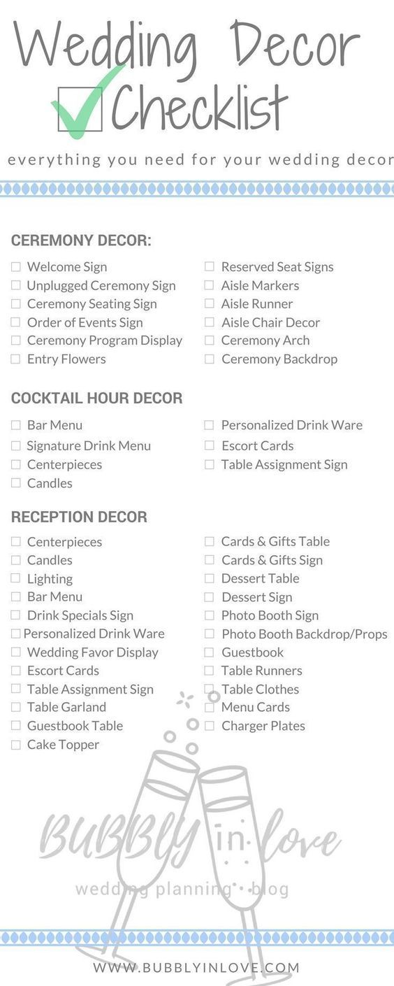Wedding Decor Checklist Just In Case You Need To Know What Should Get Done And Wh Wedding Decoration Checklist Wedding Reception Checklist Cocktail Hour Decor