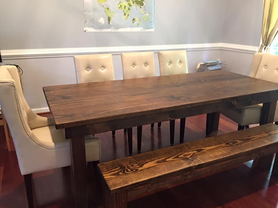 James Farmhouse Table With Jointed Top Stained In Dark Walnut Pictured Matching Bench