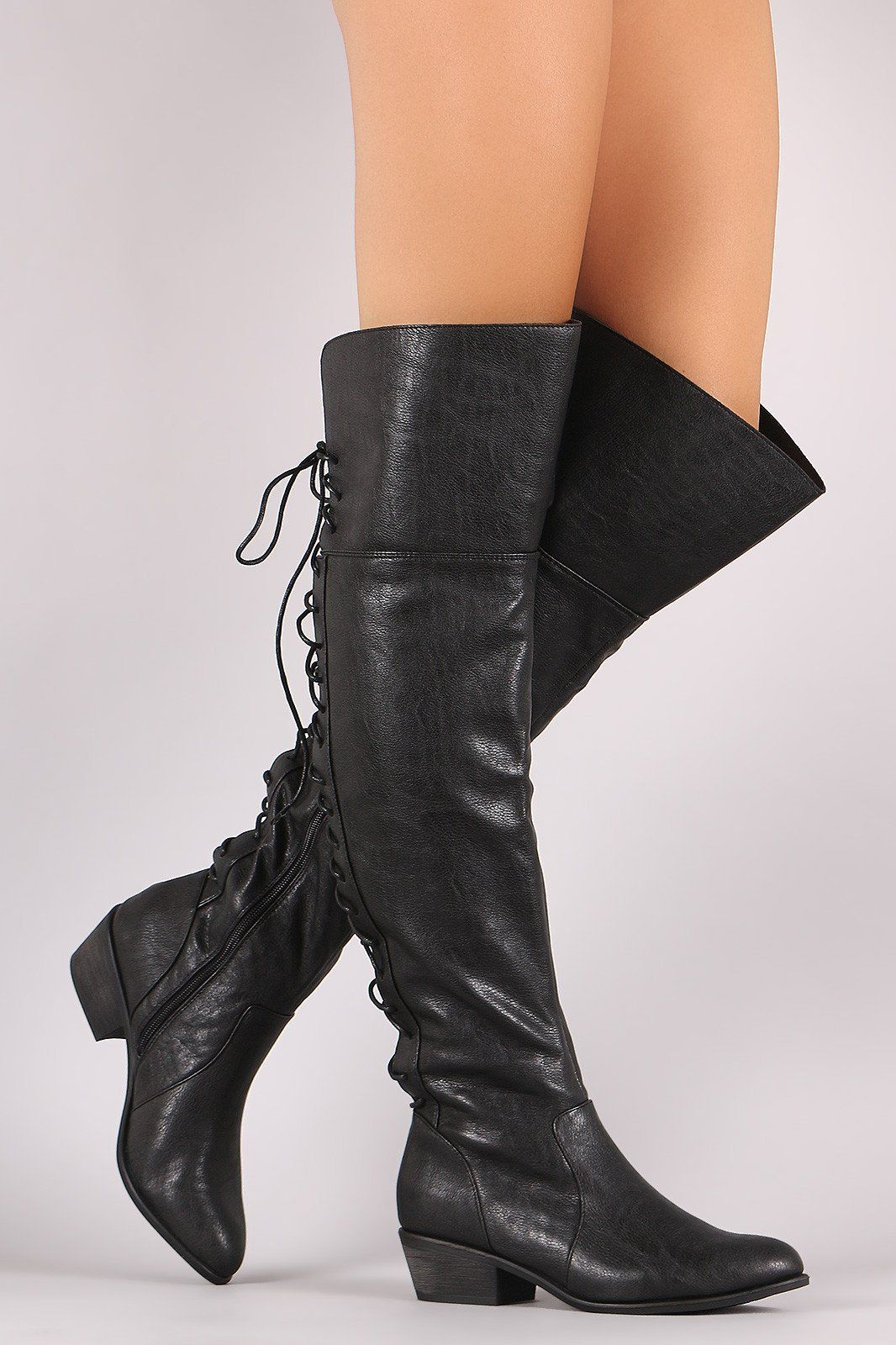 35a2a277eef Breckelle Back Lace Up Over-The-Knee Boots