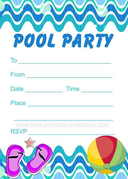 Marvelous Pool Party Invitation   Free Printable Party Invites From  Www.best Printable Invitations