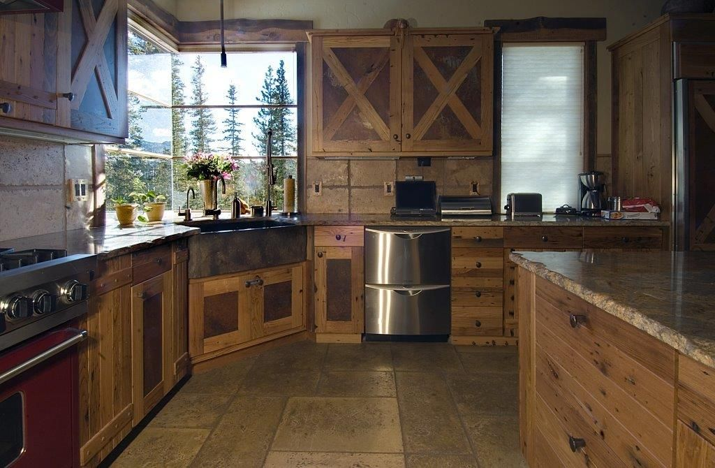 Reclaimed Chestnut Kitchen Cabinets | Chestnut And Rusted ...