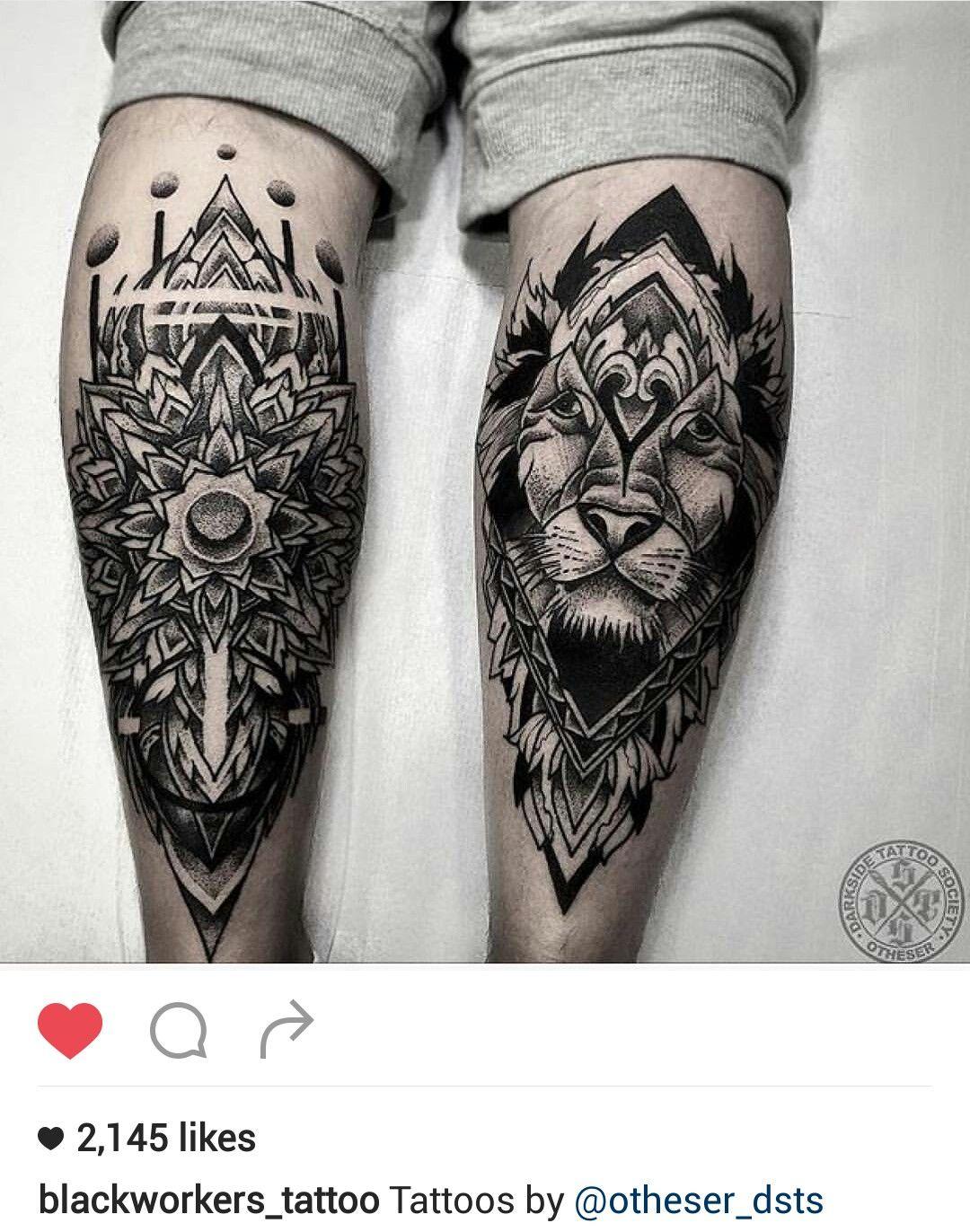 Black And Gray Mandala And Lion Tattoo By Otheser Dsts Tatuagens Geometricas Tatuagens Tatuagem Masculina Braco