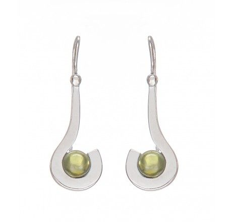 Sleek and trendy Sterling Silver Earrings. with Semi Precious Stones- Smoky Topaz and Peridot with Gemstone colour- Brown and Parrot Green that can be worn with your western wear, it is also available in gold plated.