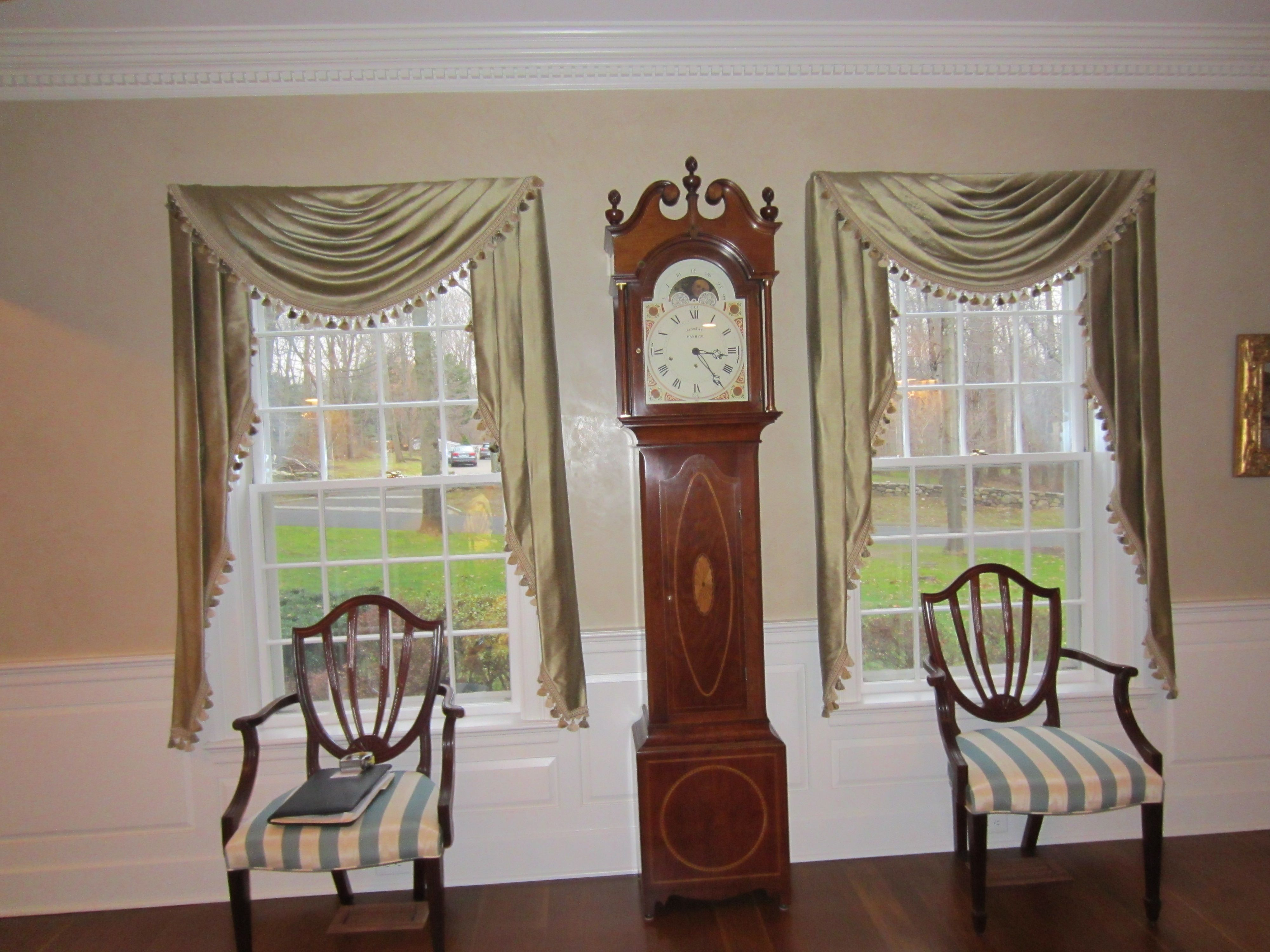Traditional Swag With Sill Length Jabots Interior Design