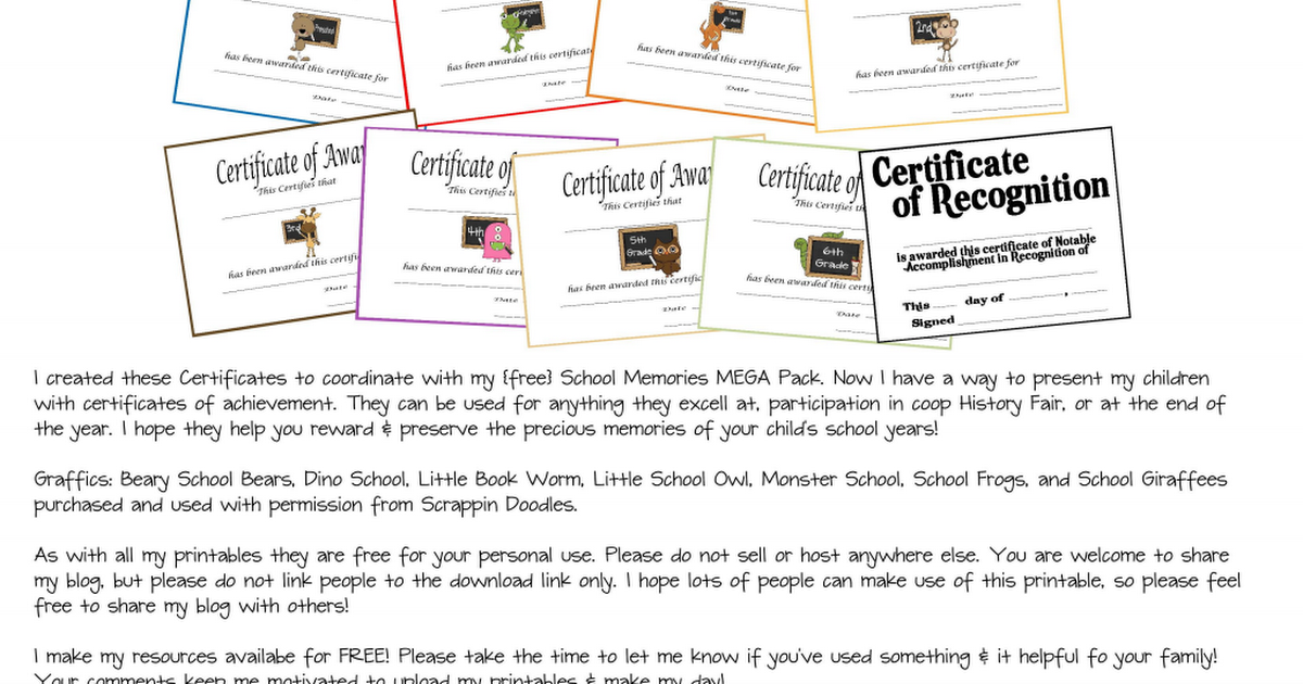 Certificates Of RecognitionPdf  Report Card Rewards