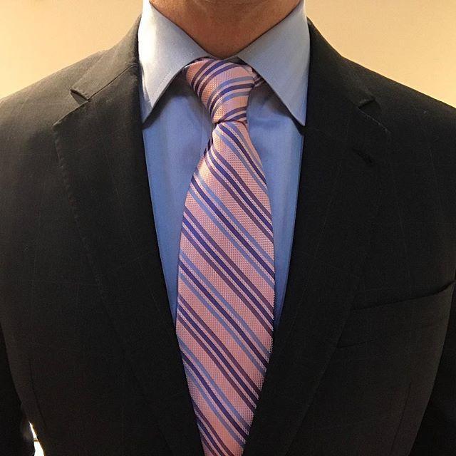 Alford Striped Silk Tie, Pink Blue Deep Blue | Blue