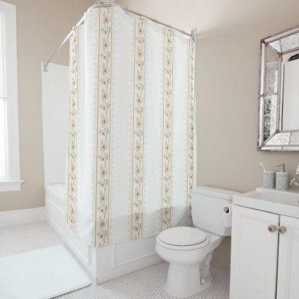 Modern neutral beige roses floral, farm pattern shower curtain | Zazzle.com
