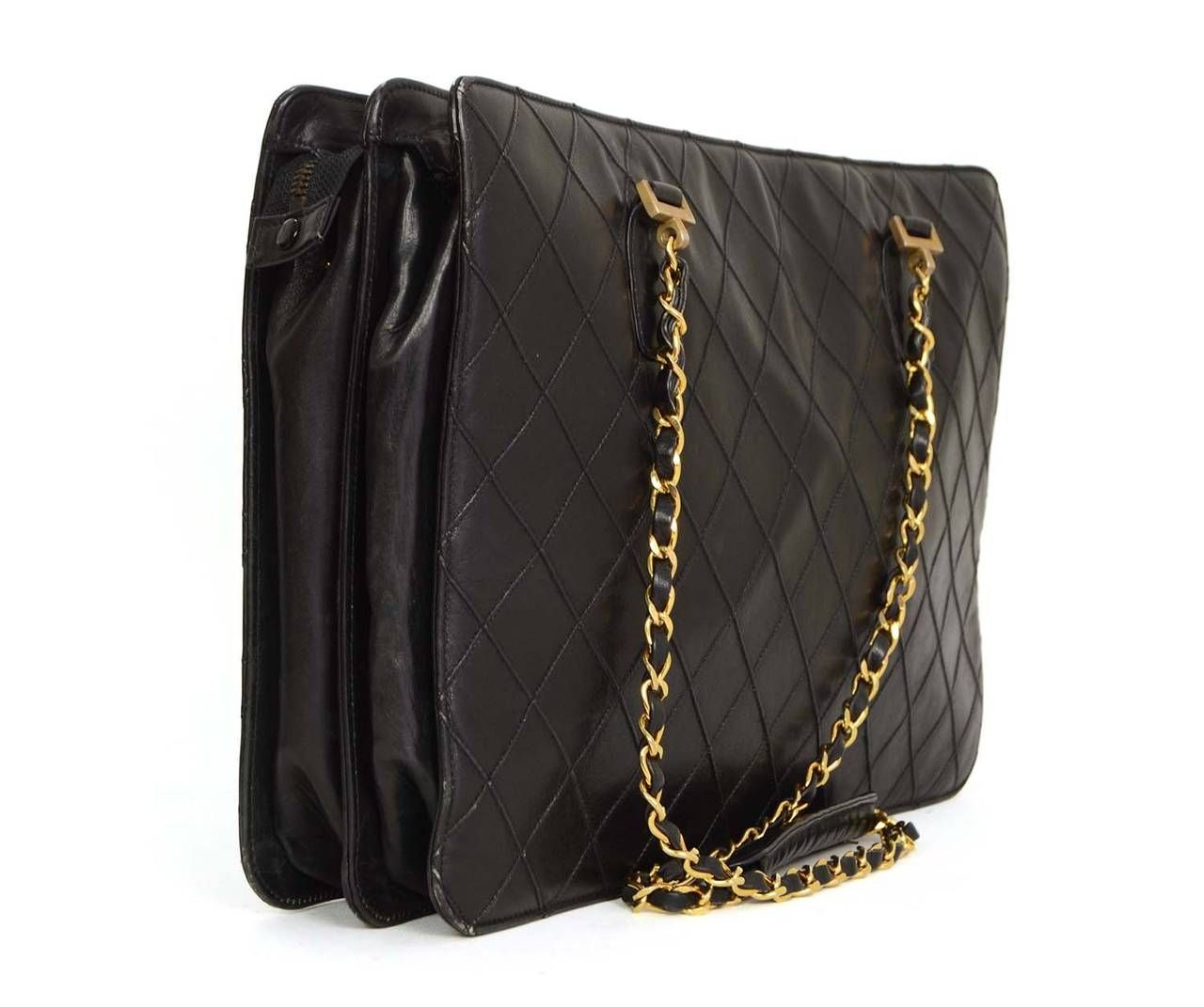 c3bceb04309d CHANEL Vintage 80 s Black Quilted Leather Shopper Tote Bag GHW