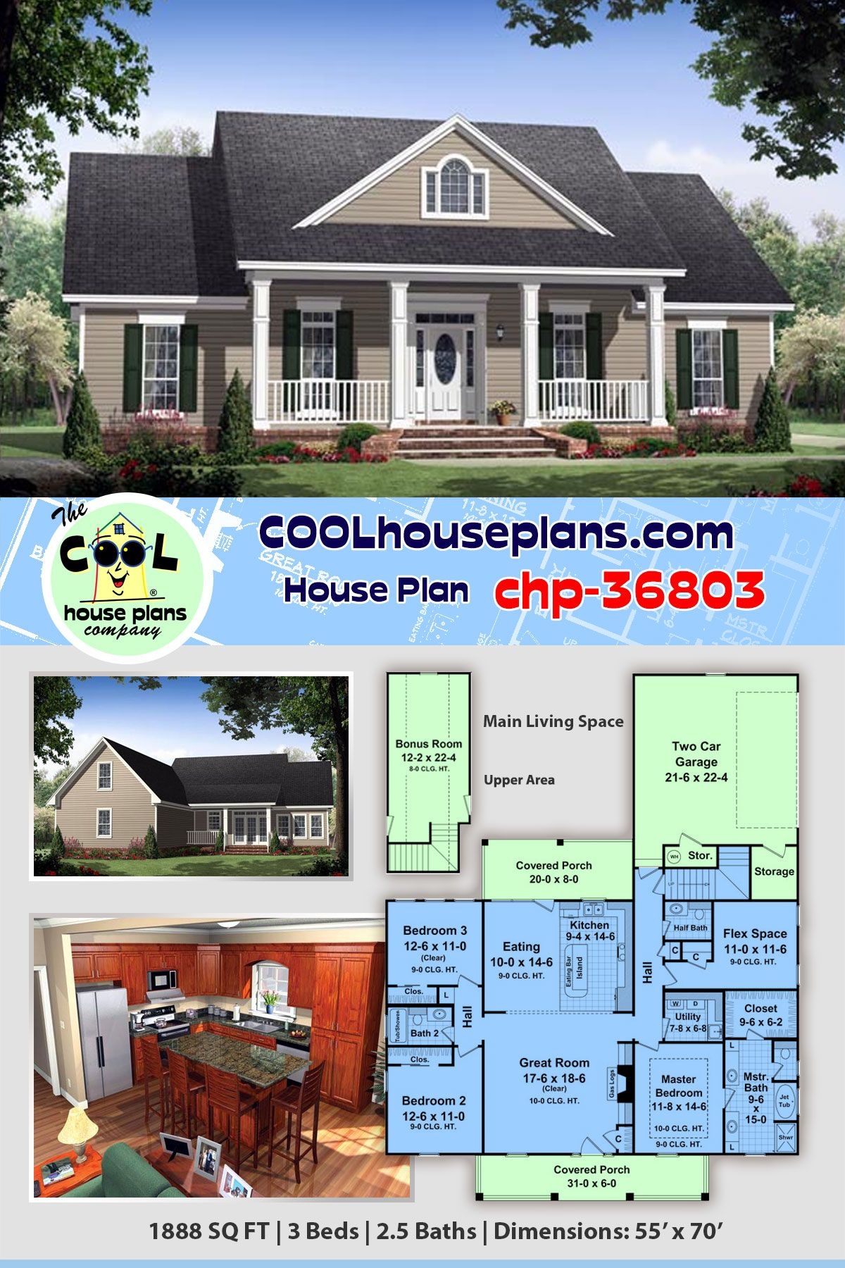 Colonial House Plan Chp 36803 At Coolhouseplans Com House Plans My House Plans Ranch House Plans