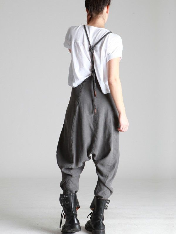 tencel balloon trousers with removable braces