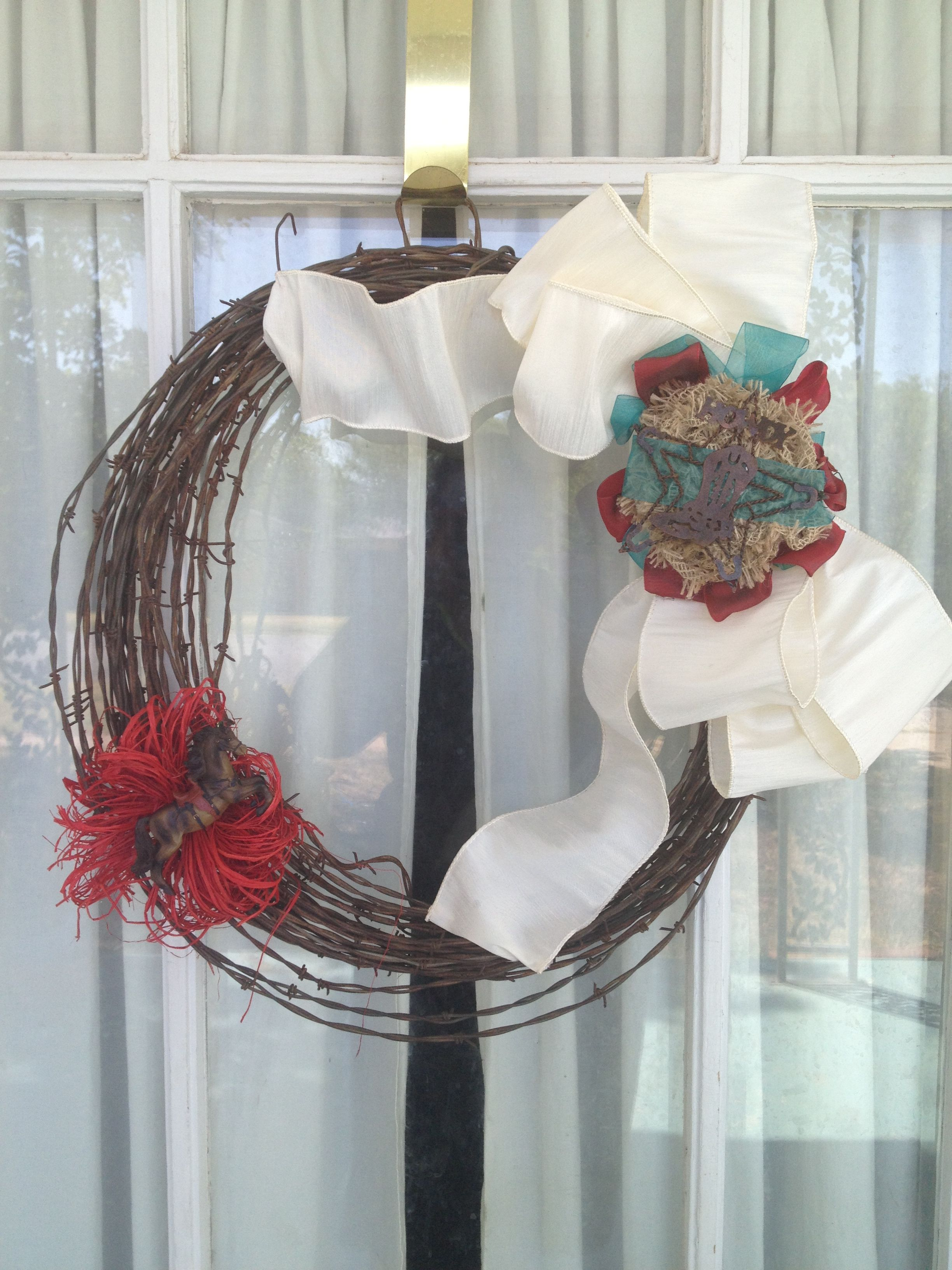 Barbed wire wreath made for a trail ride silent auction | Wreaths ...
