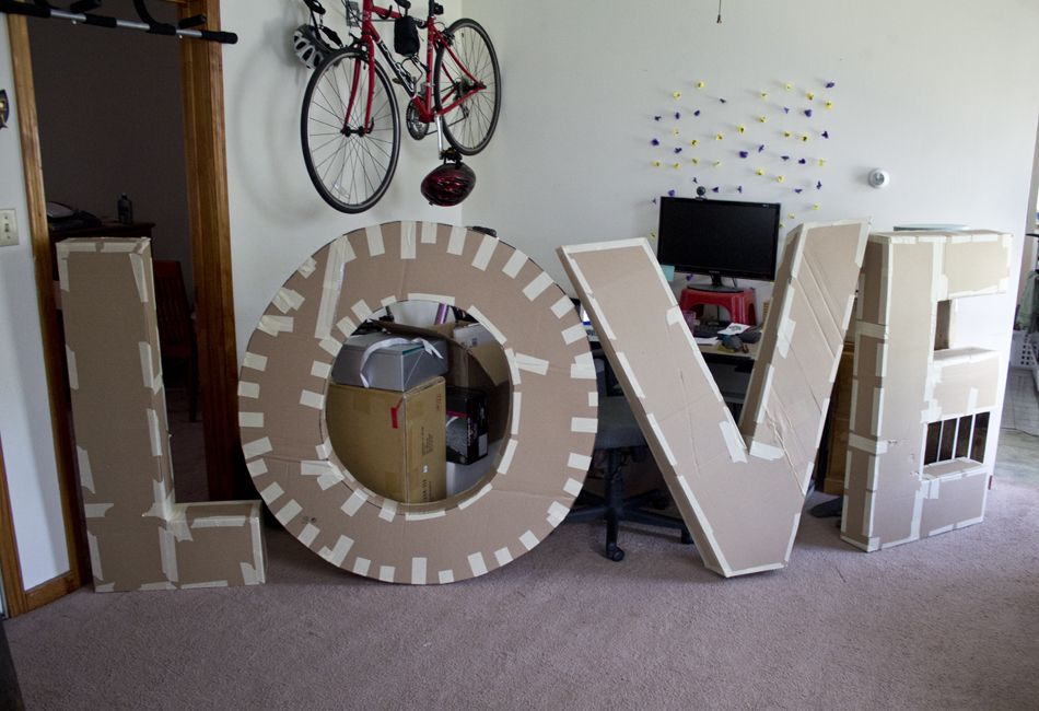 How to make giant cardboard paper mache letters pictures for Giant letters for wedding