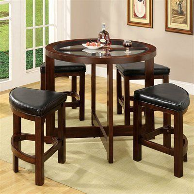 Crystal Cove Dark Walnut Wood 5 Pieces Glass Top Dining Table Set By Furn Counter Height Dining Table Set Counter Height Dining Table Counter Height Table Sets