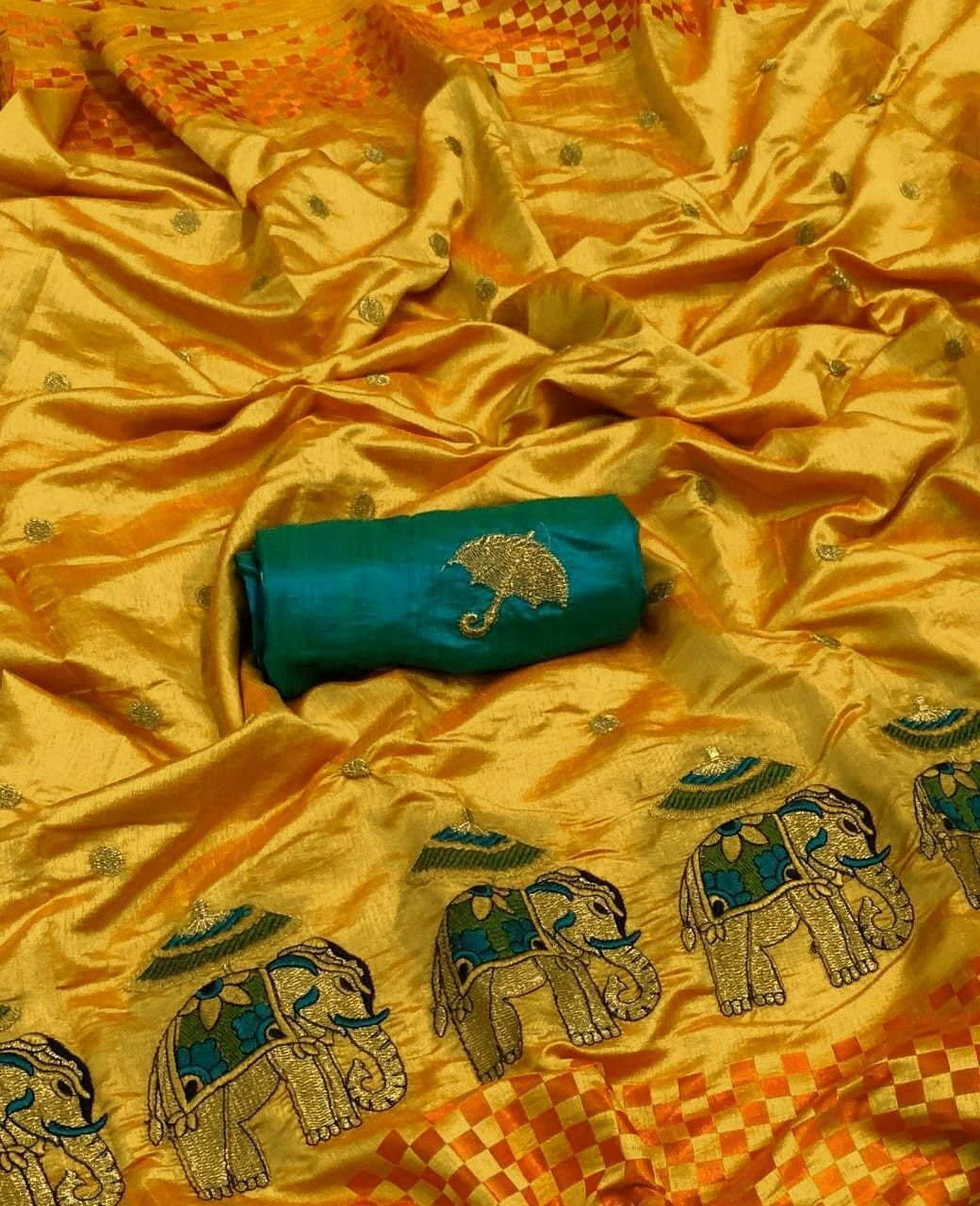 2a92eeb029 Yellow Color Sana silk Saree With Cheks pattern And Elephant Figer  Embroidery.. BLOUSE Banglori cotton and Pallu with Fancy Zalar