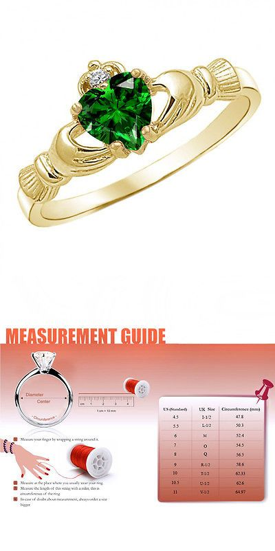 Other Wedding Jewelry 164311: Heart Shaped May Birthstone Green Emerald 14K Yellow Gold Finish Claddagh Ring -> BUY IT NOW ONLY: $39.96 on eBay!