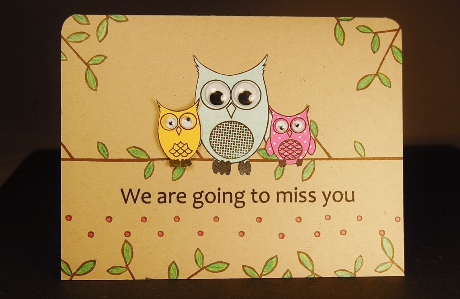 Miss You Owls Farewell Cards