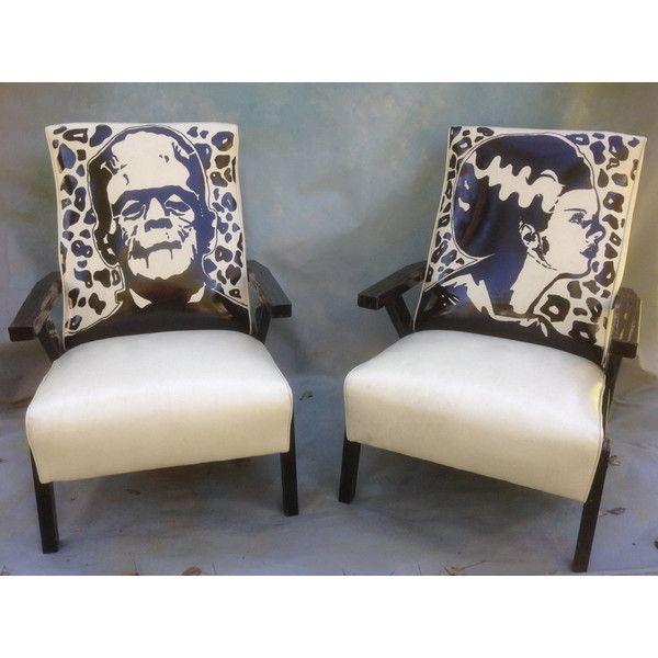 Frankenstein And Bride Of Frankenstein Recliner Chair Set, Hand... ($599)