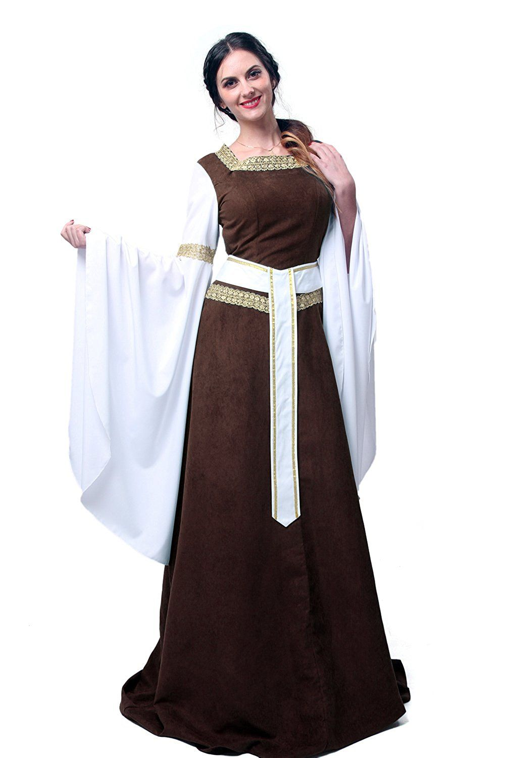 9757fbccef1 Medieval Noble Lady Brown Square Collar Palace Dress Costume