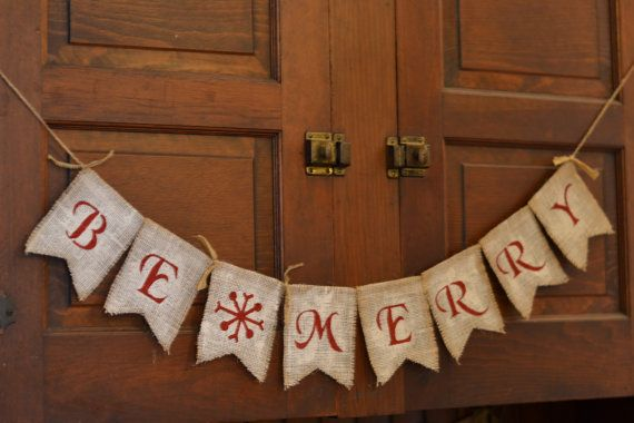 rustic be merry christmas winter holiday burlap banner garland bunting decoration sign - Merry Christmas Burlap Banner