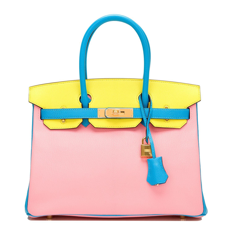 ea335319eae  Hermes  Birkin  Bag Tri-color Rose Confetti Soufre Blue Aztec Chevre Gold  Hardware