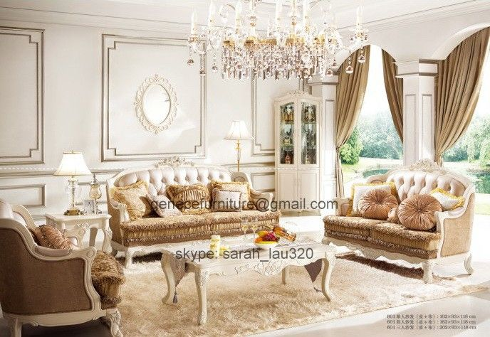 french style living room set style sofa set leather and fabric 18568