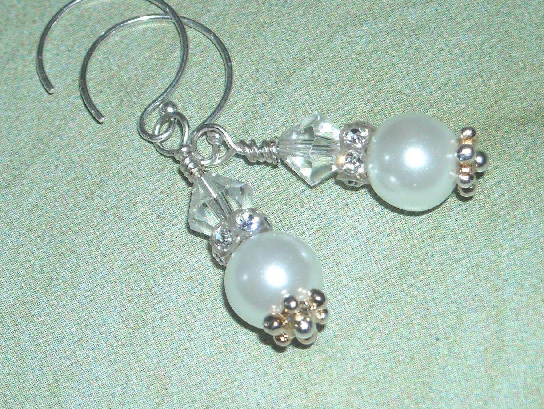Cij Pearl And Crystal Earrings  Snow White  Bridal Wedding Earrings June  Birthday Elegant Simple Sparkle Fashion Earrings Under 20