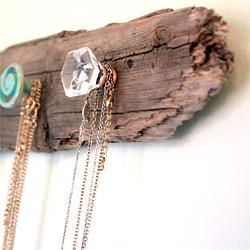 old drift wood with cool knobs to hang necklaces DIYHome