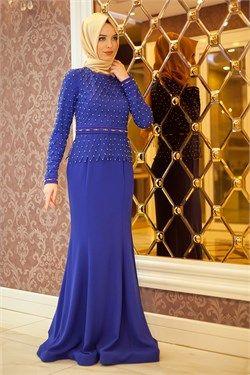 Tesetturlu Abiye Elbise Boncuk Detayli Saks Mavi Balik Elbise