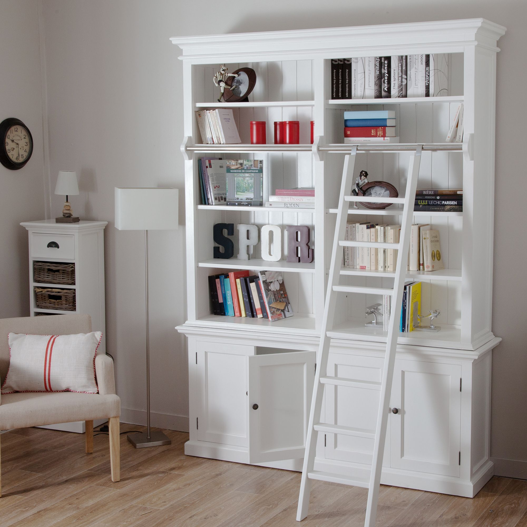 Biblioth Que Avec Echelle 4 Portes 10 Niches En Acajou Cottage  # Bibliotheque Avec Portes Vitrees