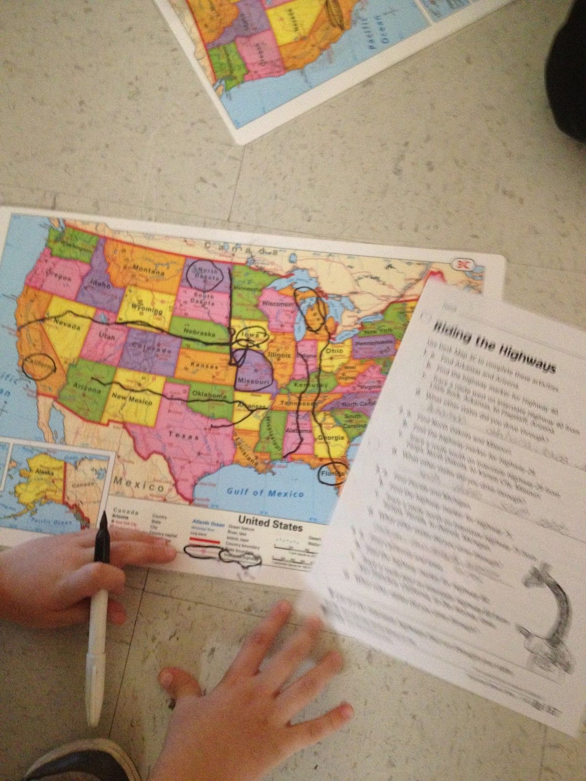Awesome Idea Kids Find Routes Using Interstates And Tell