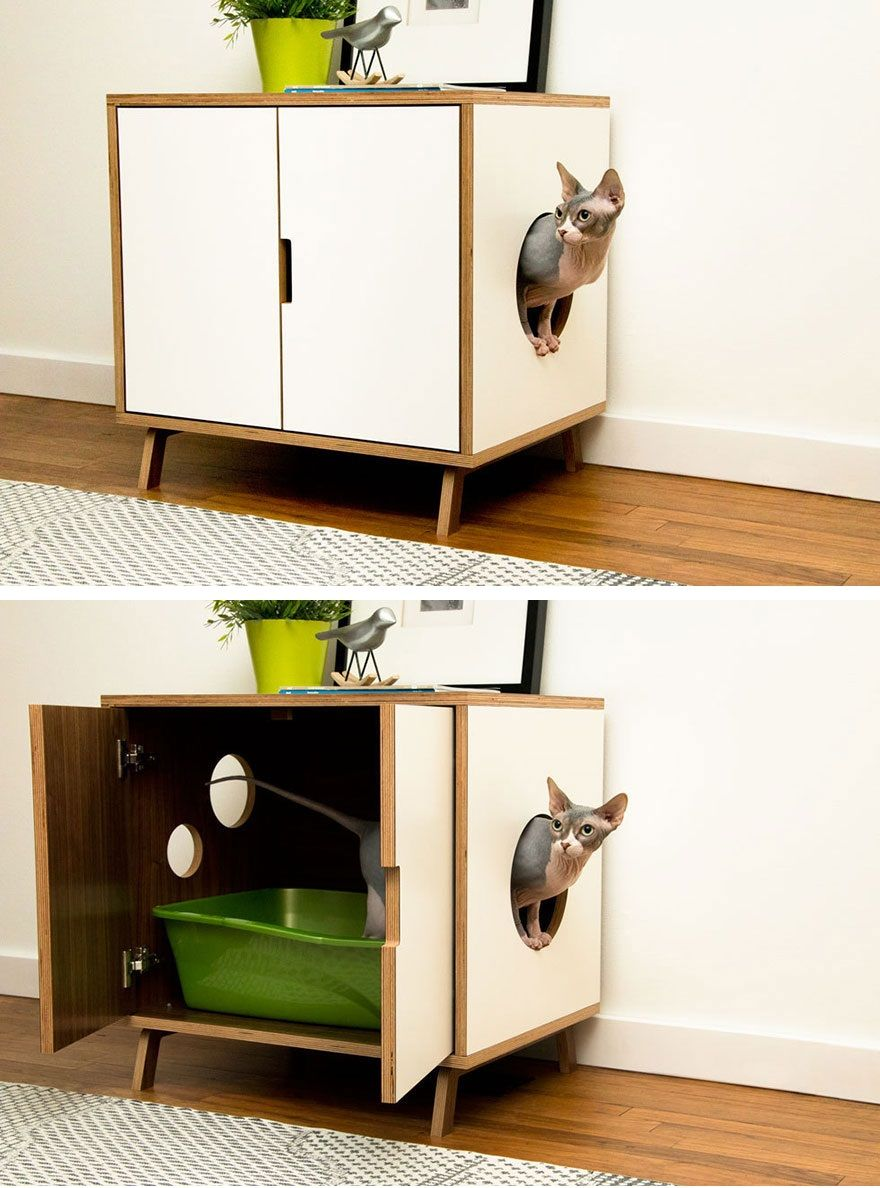 Great hidden cat litter. Might be good for small spaces or if you ...