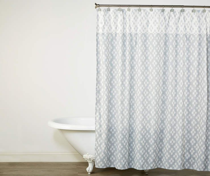 Living Colors Shari Gray Diamonds Fabric Shower Curtain Hooks