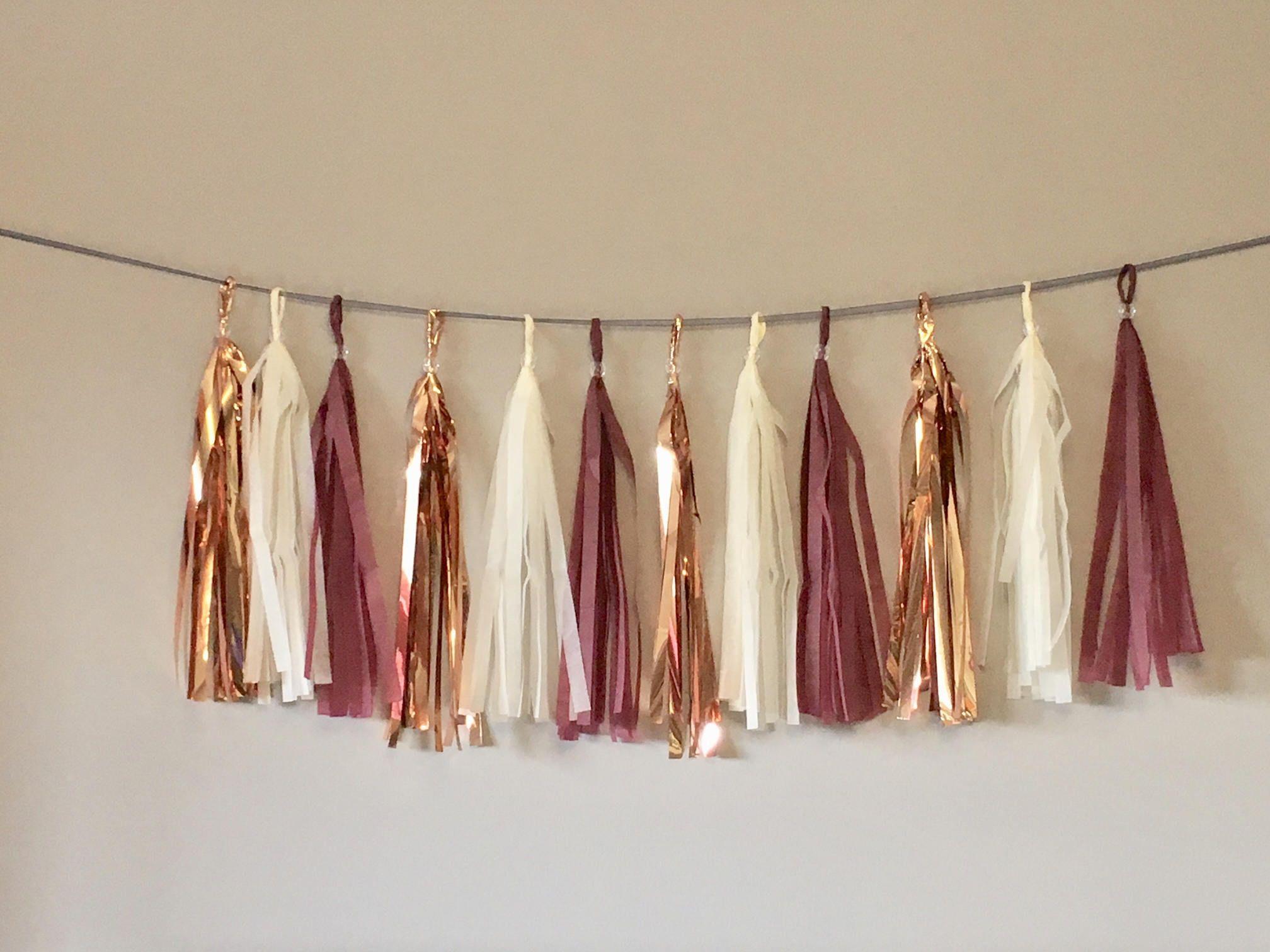 Burgundy rose gold cream tassel garland baby shower decorations