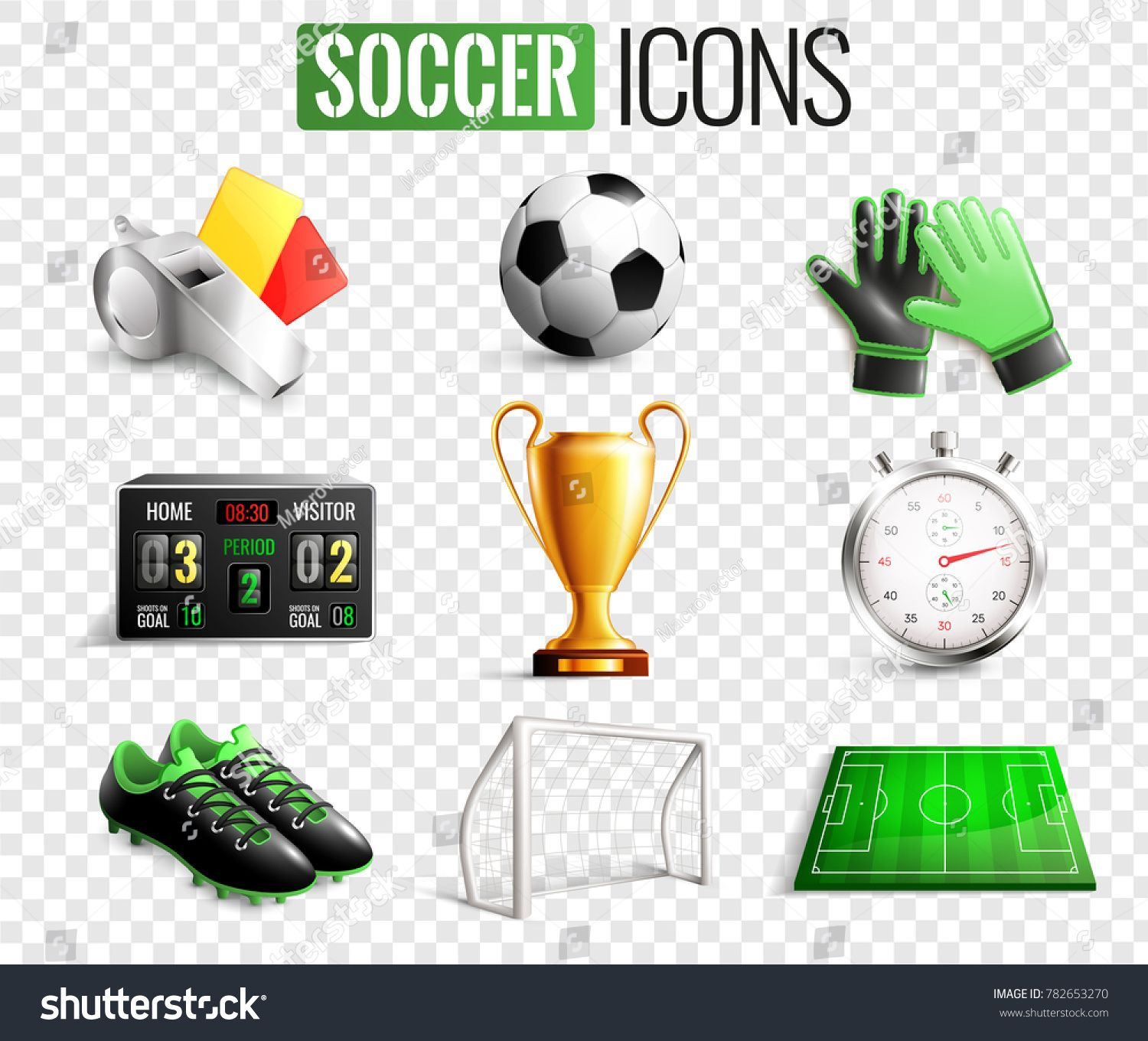 Soccer Set Of Icons With Referees Objects Goal Trophy Ball Boots Isolated On Transparent Background Vector Illustration Sponsored Objects