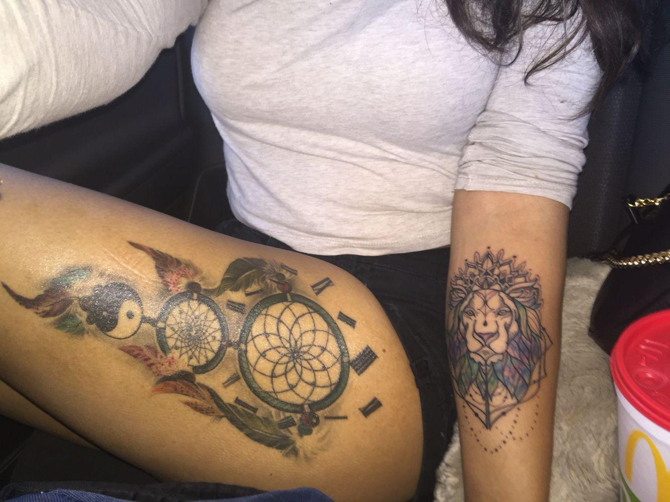 my dream catcher tattoo and lion leo tattoo ✨☁ | my tattoos